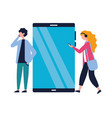 man and woman using mobile technology vector image