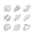 marine animals linear icons set swimming shark vector image vector image