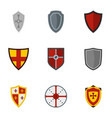 medieval shield icons set flat style vector image vector image