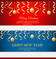 merry christmas happy new year horizontal banners vector image vector image
