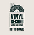 music poster with vinyl record in retro style vector image vector image