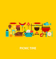 picnic time greeting card vector image vector image