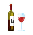 red wine bottle with wine glass vector image