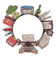 retro set writer desk vintage typewriter vector image vector image