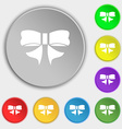 Ribbon Bow icon sign Symbol on eight flat buttons vector image