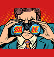 sale businessman looking through binoculars vector image vector image