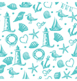 Seamless pattern hand drawn sea themed objects vector image vector image