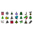 set hand drawn multicolored christmas and new vector image