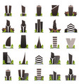 set of flat style modern city houses building of vector image vector image