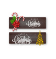 set of holiday greeting card with lettering vector image