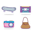 set of youth accesories and elements icons vector image