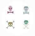 Set pixel skull vector image vector image