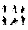 six silhouettes of older people vector image vector image
