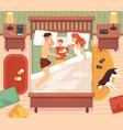 sleep in bed happy family sleeping vector image vector image