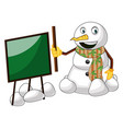 snowman with blackboard on white background vector image