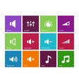 Speaker icons on color background Volume control vector image