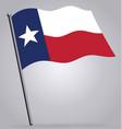 texas tx state flag waving on flagpole vector image vector image
