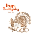 Thanksgiving traditional turkey for greeting card vector image vector image