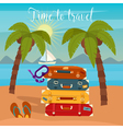 Tropical Vacation Travel Baggage Beach Vacation vector image vector image