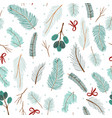 winter seamless pattern with conifers branches vector image