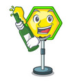 with beer traffic sign isolated on the mascot vector image