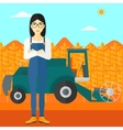 Woman standing with combine on background vector image