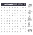 working people line icons signs set vector image vector image