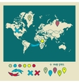 Hand drawn world map with pins and arrows vector image