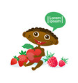 cute baby boy holding apple african american vector image