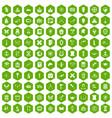 100 archeology icons hexagon green vector image vector image