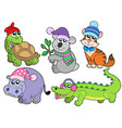 animals in winter clothes collection 1 vector image