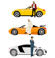 arab men and expensive cars vector image