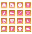 baseball icons pink vector image vector image