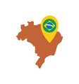brazil map with gps mark flat style icon vector image vector image