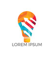 bulb lamp with arrow logo design vector image vector image