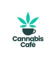cannabis cafe coffee drink tea logo icon vector image vector image