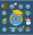 cartoon globe emotion planet icons smile happy vector image