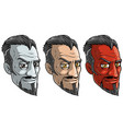 cartoon sly red and pale devil man with beard vector image vector image