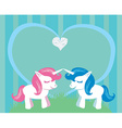 Couple of cartoon unicorns in love vector image