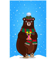 cute cartoon bear in knitted hat with present in vector image vector image