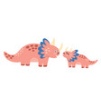cute mother and baby dinosaurs print funny vector image