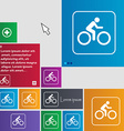 Cyclist icon sign buttons Modern interface website vector image vector image