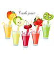 different fruit juices in glasses with splashes vector image vector image