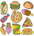 doodle of food various burger drink vector image vector image
