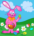 Easter bunny with eggs vector image vector image