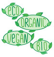 eco bio organic vegan signs label vector image vector image