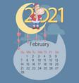 february 2021 calendar funny calf vector image vector image