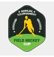 Field hockey cup logo sport badge with man vector image vector image