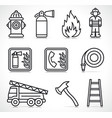 fire security icons set vector image