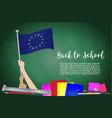 flag of european union on black chalkboard vector image